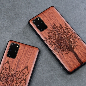 Image 3 - Solid Wood Carving Protective Cover for Samsung Galaxy S20 Ultra S10 Plus Note 20 Ultra 10 Plus 5G Case Embossed Wooden Funda