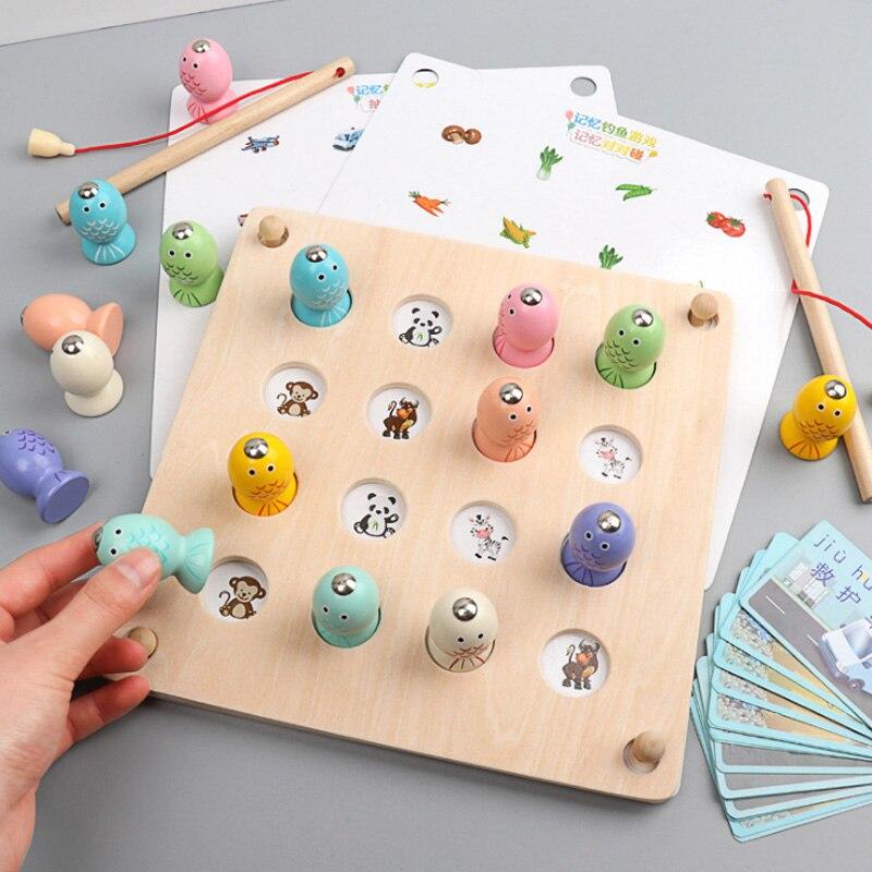 Nouveau bébé jouets éducatifs magnétique en bois pêche jouet ensemble poisson jeu éducatif pêche jouet enfant anniversaire/noël cadeau D120