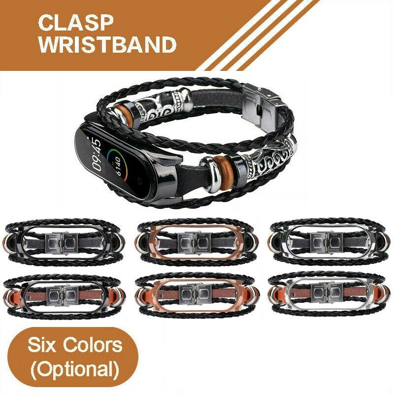 Xiaomi Mi Band 3 4 5 Smart Bracelet Leather Weave Strap Braided Watch Band Smart Watch Wrist M3 M4 Plus Bracelet For MiBand