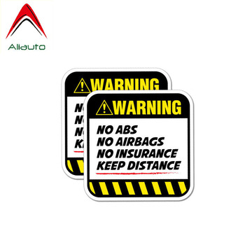 Aliauto 2 X Danger Car Stickers Warning No Abs Airbags Insurance Keep Distance PVC Decals for Nissan Suzuki Peugeot VW,9cm*9cm image
