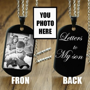 Personalized Dog Tag Men Necklace Pendant Black Stainless Steel Custom Photo Name Army Nameplate For Man Dad Husbands Boyfriend
