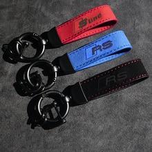 Metal Leather High quality Keychains Car Keychain With Logo Key ring  For Audi A3 A4 A5 A6 A7 Q2 Q3 Q5 Q7 Q8 RS Rline Sline