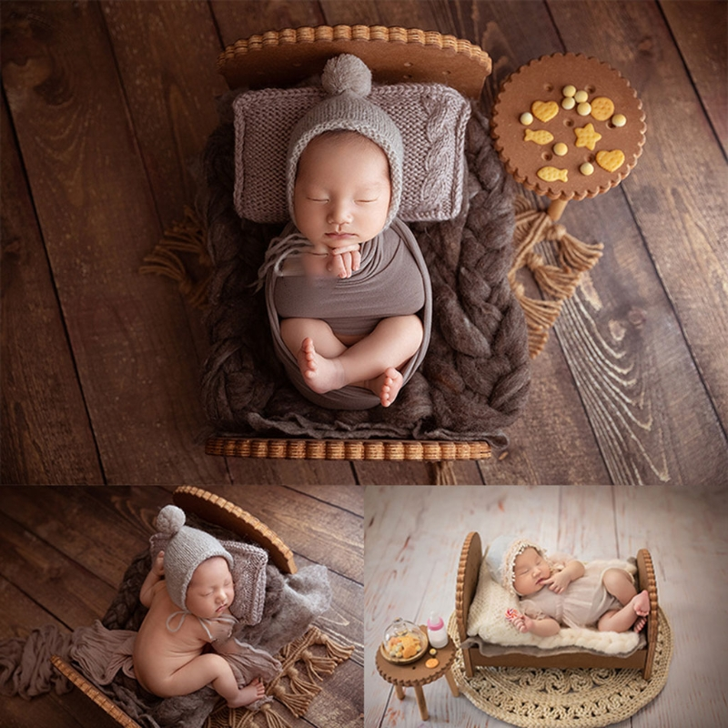 Newborn Detachable Posing Mini Bed Baby Photo Shooting Handmade Wooden Cookie Crib Infant Photograph Props