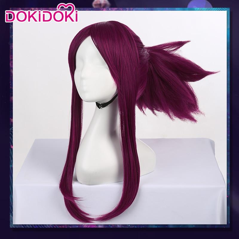 Peluca de Cosplay de DokiDoki Game LOL League of Legends K/DA Akali, peluca de Cosplay de mujer, pelo morado resistente al calor K/DA Akali