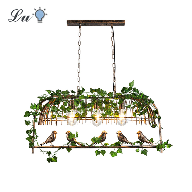 Rétro industriel vent LED pendentif lumière E27 originalité fer Art oiseau Cage lumières luminaire Restaurant barre plante suspension lampe