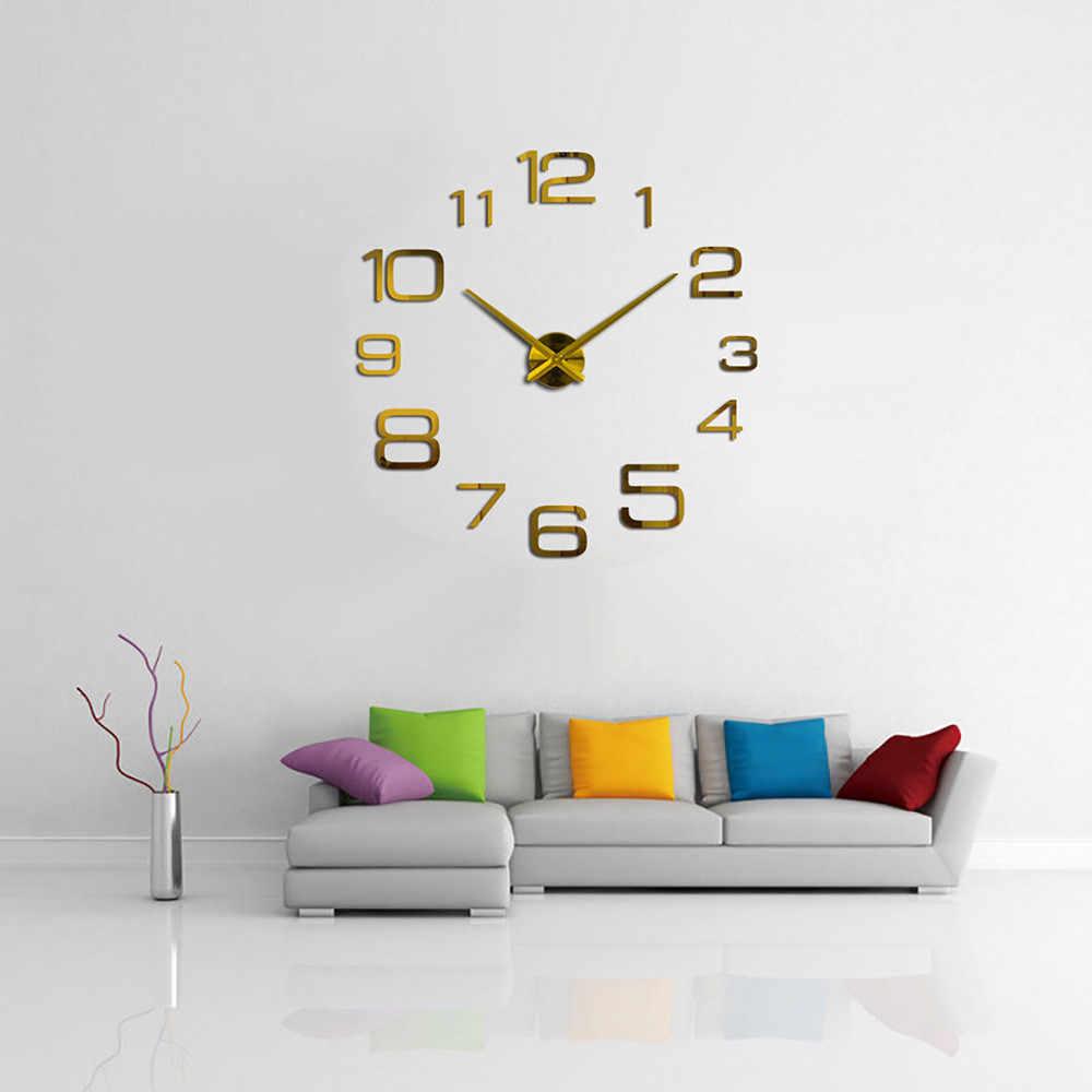 Reloj de pared acrílico Metal espejo grande decoración personalizada Relojes de pared 3d grandes Relojes de pared decoración del hogar
