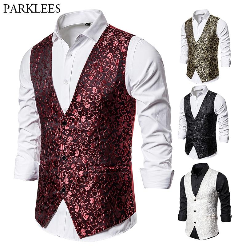 Paisley Jacquard Red Vest Men Luxury Slim Fit Men's Vests Wedding Party Dance Singer Stage Waistcoat Mens Suit Vest Hombre