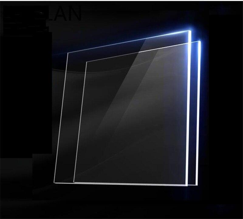 2pcs Large Square Plexiglass Transparent Clear plastic Sheet acrylic board organic glass polymethyl methacrylate Thickness 1mm