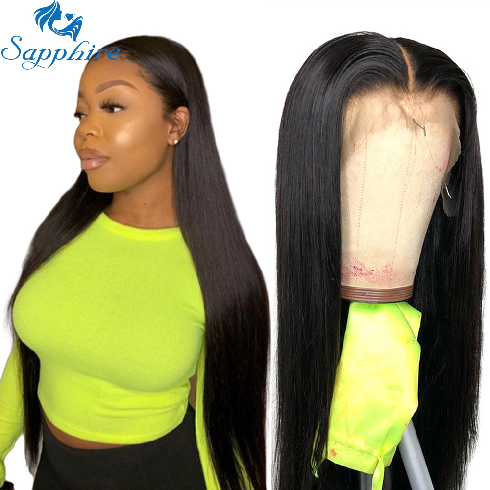 Sapphire Straight Lace Front Human Hair Wigs Plucked With Baby Hair Glueless 360 Lace Frontal Wigs Bleached Knots Lace Front Wig