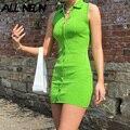 ALLNeon 90s Streetwear Grün Gestrickte Tank Kleider Y2K Ästhetik Drehen-unten Kragen einreiher Mini Kleid Sexy sleeveless Neue