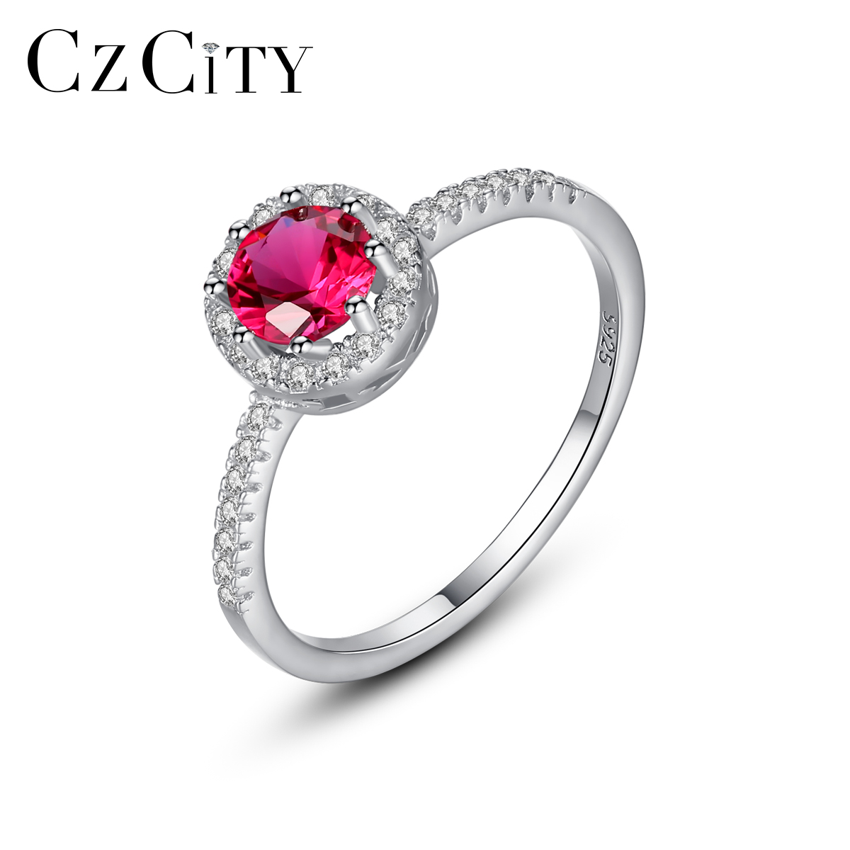 CZCITY 100% 925 Sterling Silver Engagement Red Gemstone Rings for Women Girls Wedding Party Finger Rings Fine Jewelry SR0324