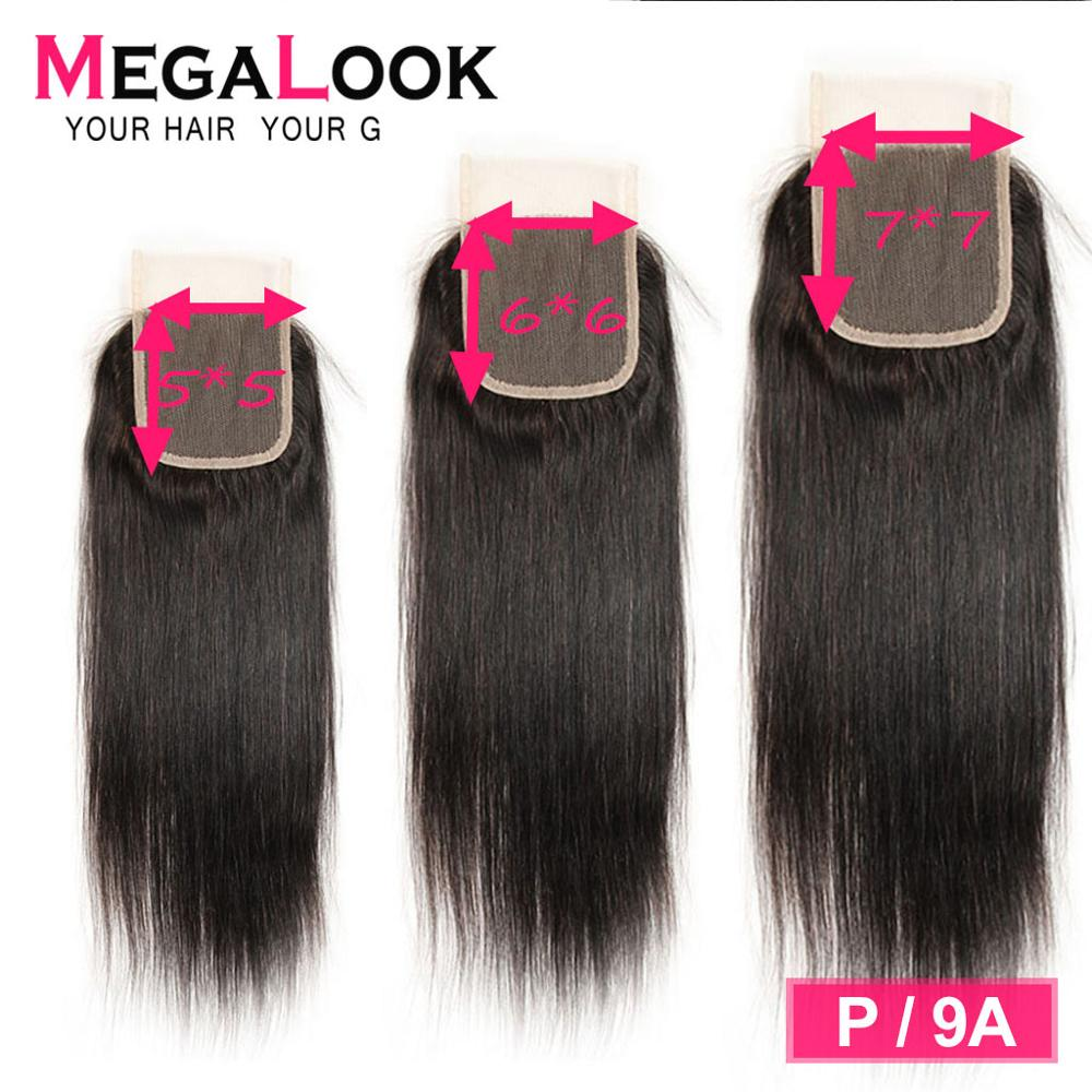 Straight Closure Human Hair 5x5 Lace Closure Malaysian P/9A Megalook Pre Plucked With Baby Hair Middle Part Remy Closure 6x6 7x7