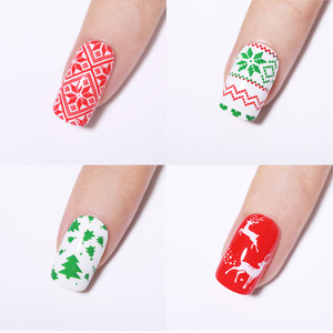 Image 2 - NICOLE DIARY Christmas Series Nail Stamping Plate Stamp Templates Rose Leaf Snake Image Printing Stencil Nail Art Tools