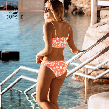 CUPSHE Pink Floral Smocked Bandeau Top Low-Waitsed Bikini Sexy Swimsuit Two Pieces Swimwear Women 2020 Beach Bathing Suits 2