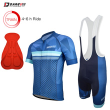 Darevie Blue Cycling Pro Sets Breathable Cycling Jersey Shockproof Cycling Bib Shorts Cycling Clothing Sets Team Cycling Uniform cheap 100 Polyester Polyester Spandex Short Sleeve Factory Direct Sales 80 Polyester and 20 Stretch Spandex DVJ077 DVP077