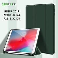 Para ipad mini 5 caso ipad mini 2019 caso com suporte de lápis tri fold suporte macio tpu volta para ipad mini5 caso capa funda capa|Estojo p/ tablets e e-books|   -