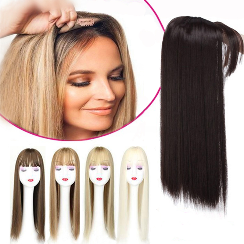 Gres светлые синтетические волосы для женщин 3 заколки для наращивания волос с челкой 22 дюйма длинные высокотемпературные волокна коричневый...