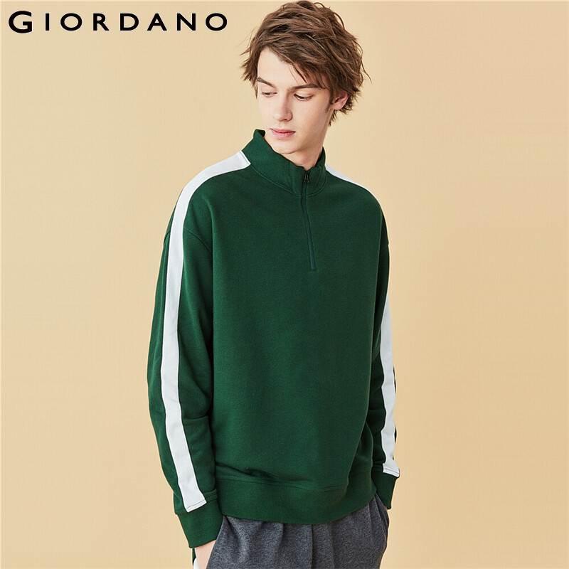 Giordano Men Sweatshirts Drop Shoulder Stand Collar Sweatshirts Loose Fit Contrast French Terry Sudaderas Hombre 01020793