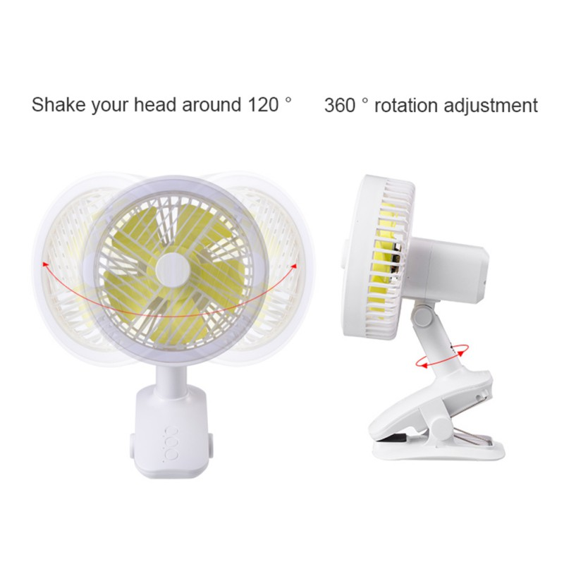 Mini Mute Clip Fan USB Rechargeable Silent 5 Blades Baby Stroller Fans Portable Air Cooling 3 Speeds Desk Fan For Outdoor