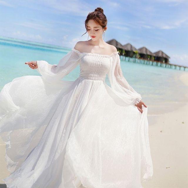 Off Shoulder Chiffon Fairy Style Dress 2