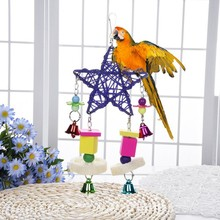 Cute Parrot Bird Toy Parakeet Cage Swing Wood Pentagon Wind Bell Rattan Bite Accessories PGM
