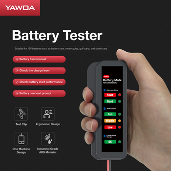 Portable 12V Car Auto Battery Tester Car Diagnostic Tool Digital Alternator Tester 6 LED Lights Display Battery Diagnostic Tool image