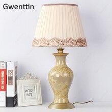 Керамические настольные лампы для гостиной, прикроватный европейский домашний декор, современный светодиодный светильник, светильники, Настольный светильник, Luminarias, ночник