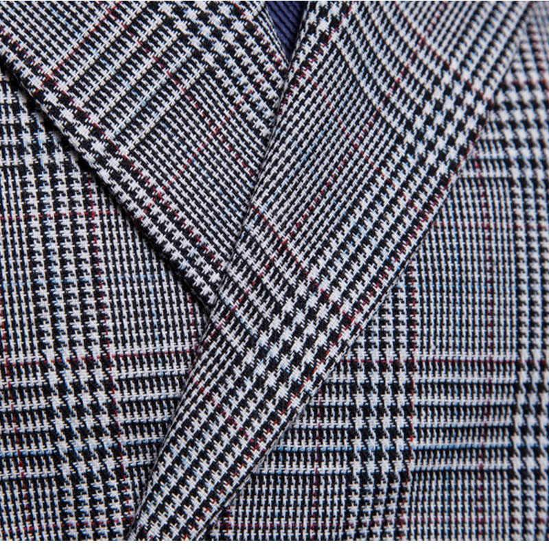 2019 انكلترا نمط سترة بدلة رجل الأعمال عارضة سترة سترات أزياء شريط منقوشة مزدوجة الصدر رجل الرسمي سهرة سترة