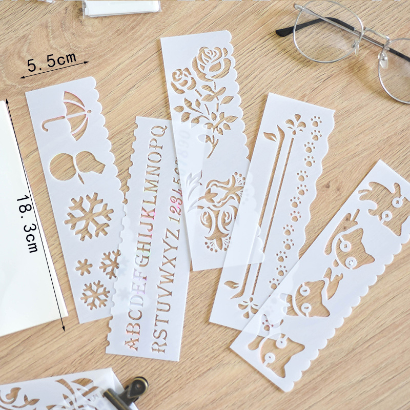 8Pcs/set DIY Drawing Ruler Animal Flowers Template Ruler Copy Rulers For Students Gifts Novelty Painting Tools Drafting Supplies