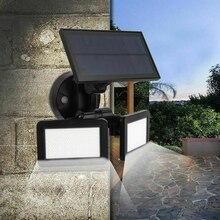 48LED двойной головкой вращающийся Солнечный свет водонепроницаемый IP65 открытый радар прожектор с датчиком супер яркий ярд лампа для украшения сада