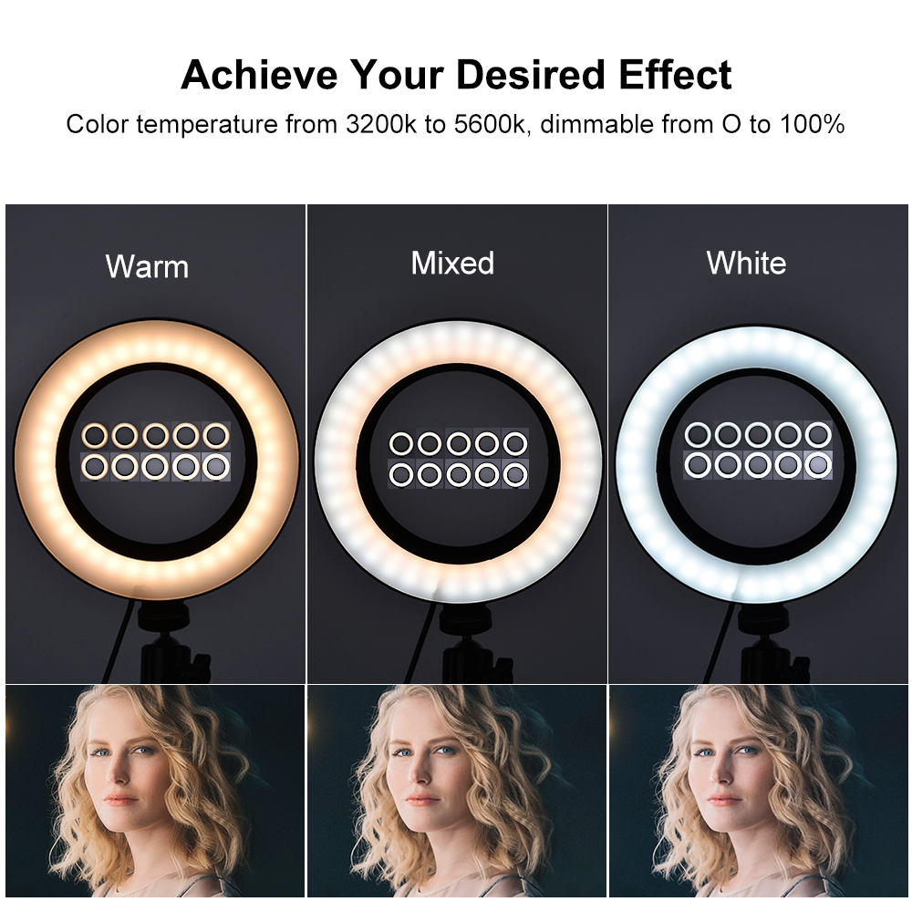 cheapest Ring Light For Photography Live Selfie Ring Light Rechargeable 9 LED Dimmable Clip Mini Ring Lights for Camera Phone Tablets