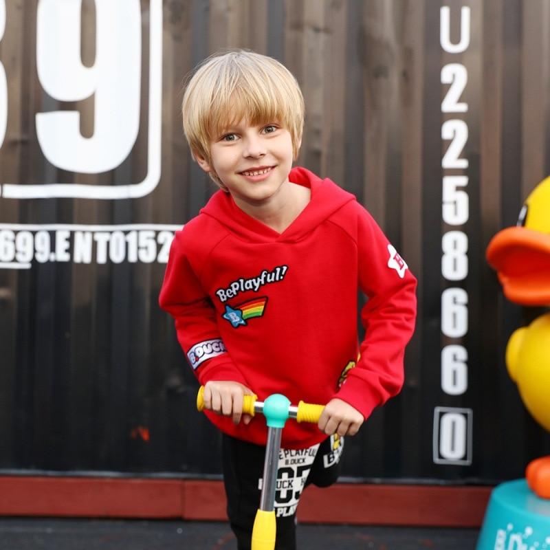 B. Eend Kleine Gele Eend JONGEN En Najaar Nieuwe Stijl Gebreide Hoodie Hooded Trui Leuke Sport Casual Kleding