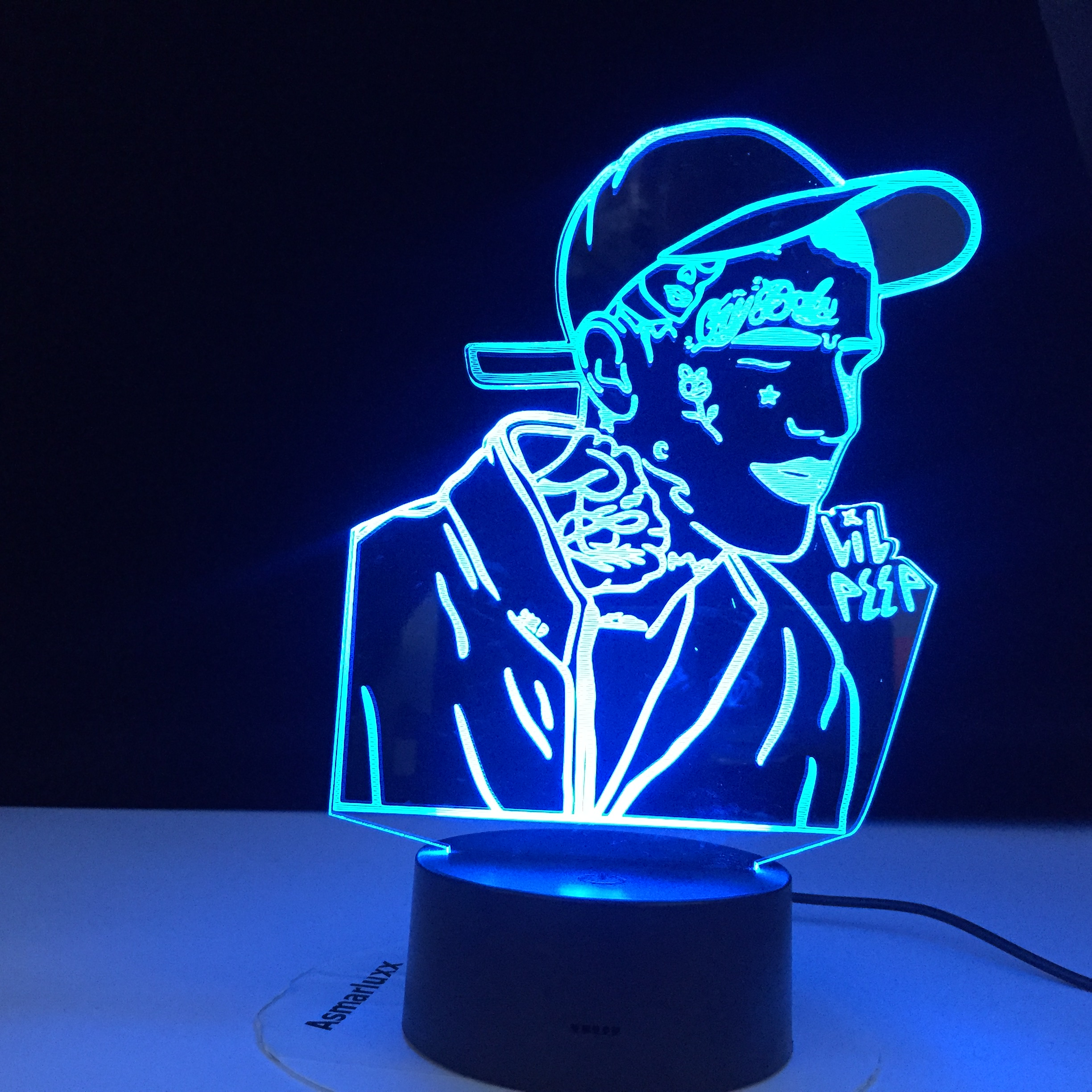 Lil Peep American Rapper 3D Led Night Light For Home Decoration Colorful Celebrity Birthday Party Nightlight Gift For Fans