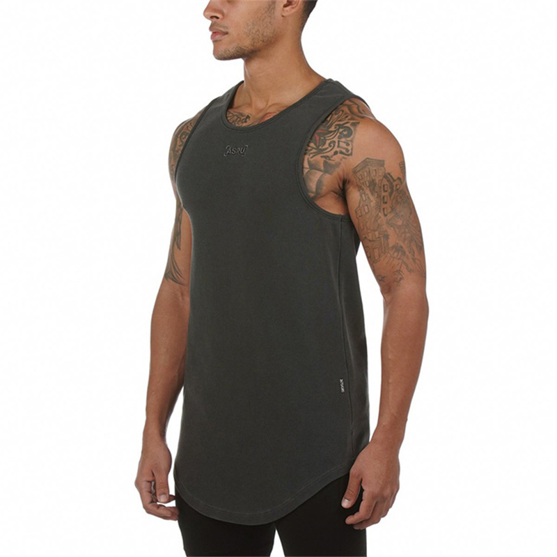 Men Bodybuilding Embroidery Tank Top Gym Workout Fitness Cotton Sleeveless Running Stringer Singlet Male Summer Casual Vest