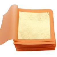 Edible Gold Leaf Sheets Gold Flakes Foil 9.33x9.33cm 25pcs/Booklet Gold in Craft Paper Mask Cake Decoration Gold Leaf Gilding