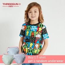 THREEGUN X Tuzki T-Shirts Boys Short Sleeves O-Neck Cartoon T Shirt Kids Cotton Baby Boy Tops ChildrenS Clothing 12 14 Years