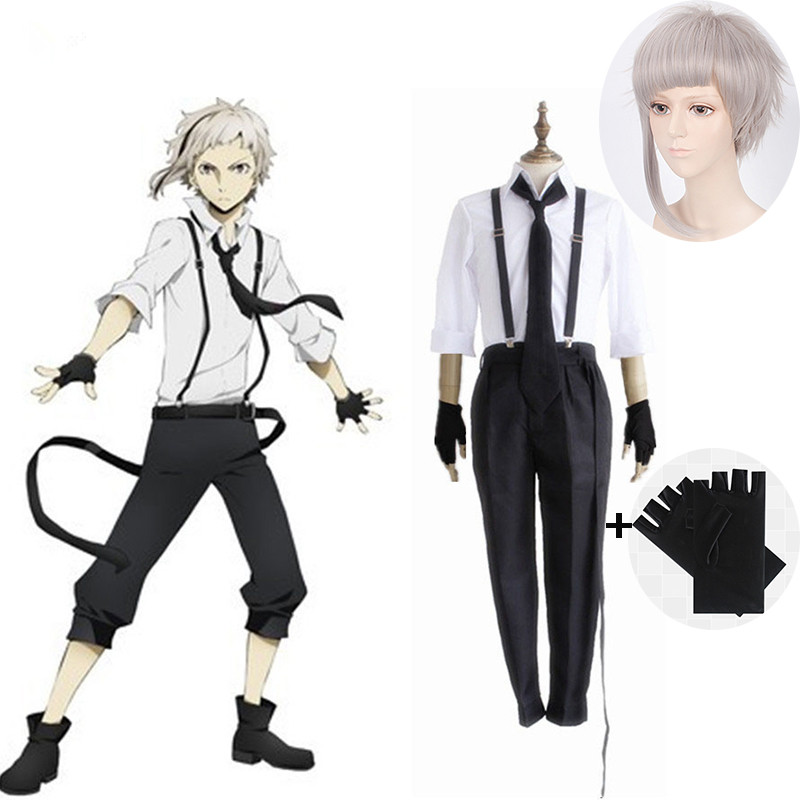 2020 Halloween Bungo Stray Dogs Atsushi Nakajima Cosplay Costumes Wigs Shirts Pants Tie Gloves Set Anime Clothing and wigs new