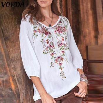 Plus Size Womens Printed Blouses Vintage Autumn 3/4 Lantern Sleeve Shirts  Elegant Tops Tunics from S to 5XL 1