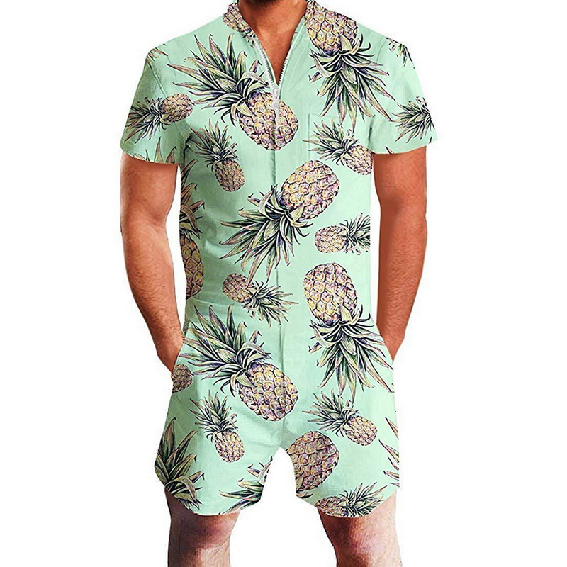 JODIMITTY 2020 Flamingos Floral Print Rompers Men Spandex Short Sleeve Jumpsuit Summer Playsuit Romper Casual Piece Male Outfits