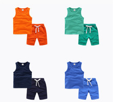 цена на Baby Boy Clothing Set Cute Summer T-Shirt 100% Cotton Candy Color Children Boys Clothes Shorts Suit for Kids Casual Outfit 2-10y