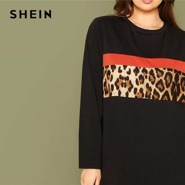 Black Leopard Panel Tee Dress Women – 21JS
