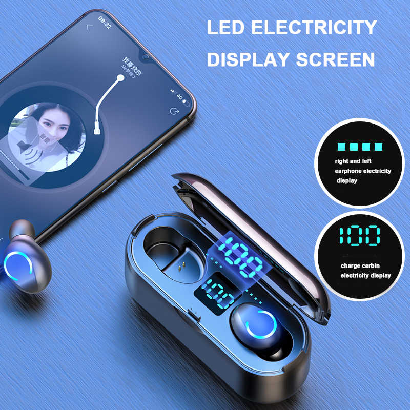Hembeer Nirkabel Headphone Bluetooth 5.0 Earphone Tws Hi Fi Mini In-Ear Olahraga Headset untuk IOS Android Ponsel HD call