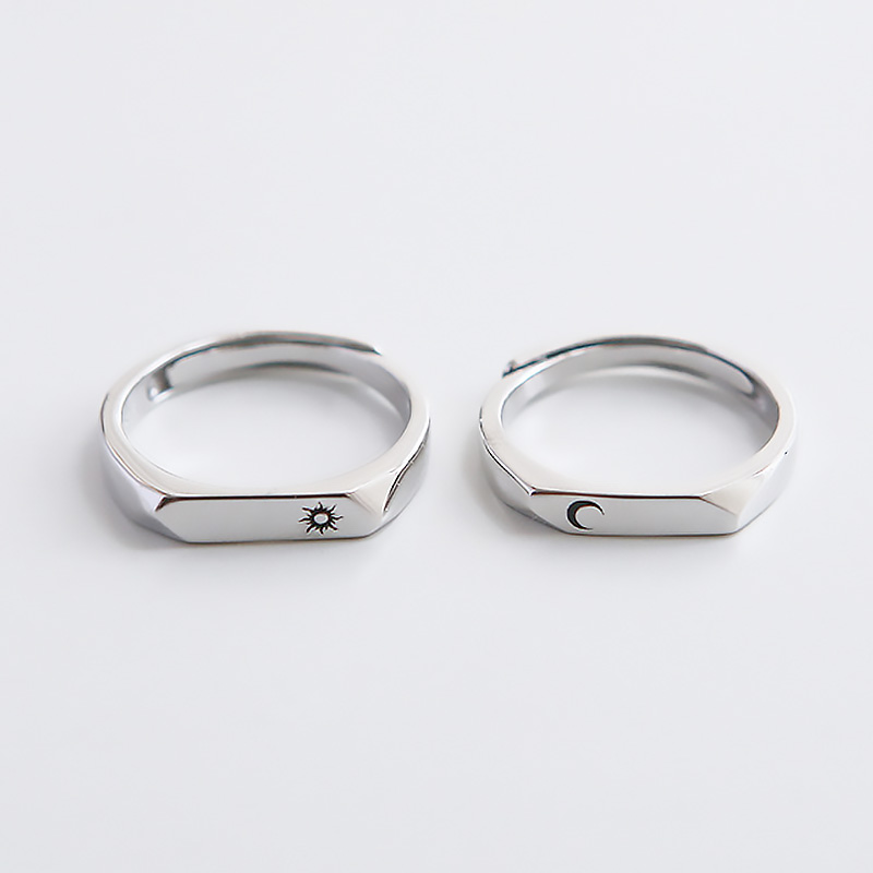Sun Charm Round Geometric 925 Sterling Silver Adjustable Ring