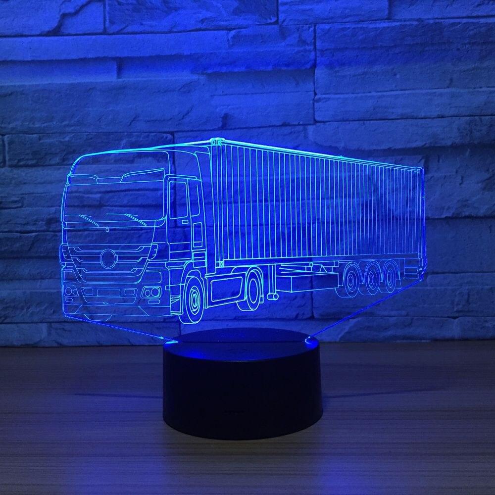 Nuevo camión contenedor 3D 7 Color Lámpara luces led de noche visuales para niños Touch Usb Lámpara de mesa 5 mW 5 KM localizador de fallas visuales equipo de prueba de Cable láser de fibra óptica
