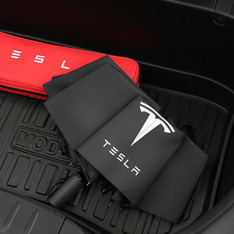 Car Styling Three-fold Double Layer Umbrella Windproof Automatic Sun Beach Umbrella for Tesla Model 3 Model X S Accessories