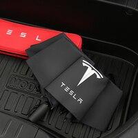 Paraguas plegable de doble capa para coche, sombrilla automática de tres pliegues a prueba de viento para Tesla Model 3 X S Y accesorios para automóvil