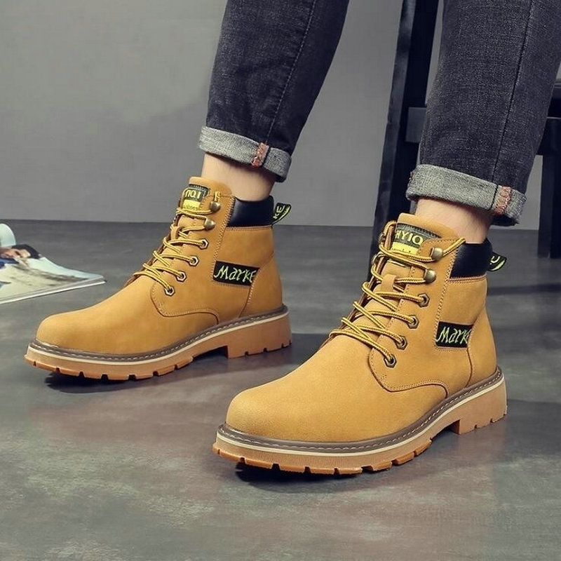 Autumn new Men Retro classic Round head Leather boots male Beef tendon bottom High help Tooling shoes Martin boots C22-42