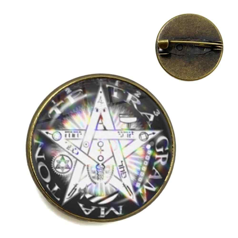 Baru Setan Baphomet Pentagram Bros Gothic Kaca Cabochon Kerah Pin Setanisme Jahat Okultisme Pentakel Perhiasan Pagan Pesona Hadiah