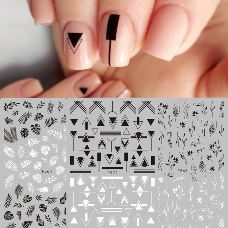 1pcs Black/White Mandala Flower Geometry Adhesive 3D Nail Decal Tropical Leaf Butterfly Nail Embellishments Accessories Nail Art
