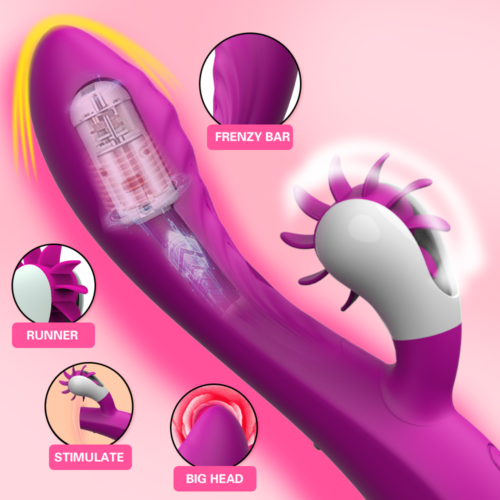 Electric Vibrators 10-Frequency Rotary Tongue Licking Vibrators Silicone Vibrating Stimulate Clitoris Adult Sex Toys For Women